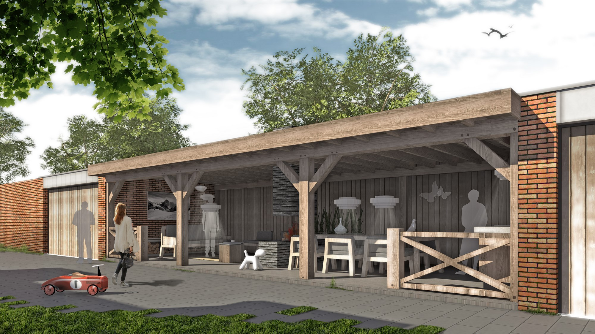 Garage Met Overkapping : Veranda en garage alblasserdam roest architectuur